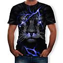 billiga Glödlampor-Plisserad / Tryck, 3D / Djur Plusstorlekar T-shirt - Streetchic / drivna Herr Rund hals Blå / Kortärmad