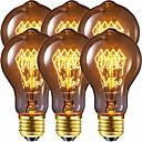 Χαμηλού Κόστους Πυράκτωσης-λάμπα εποχής vintage βολβός 40w dimmable e26 / e27 a60 (a19) σκίουρος κλωβός πυρακτώσεως edison lihgt βολβός για οικιακή φωτιστικά διακοσμητικά 220-240 v / 110-130 v συσκευασία των 6