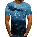 baratos Sapatos de Salto-Homens Tamanhos Grandes Camiseta Moda de Rua / Exagerado Pregueado / Estampado, 3D / Gráfico / Letra Decote Redondo Azul / Manga Curta