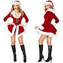 ราคาถูก ชุดรูปแบบภาพยนตร์และทีวี-ซานตาคลอส หนึ่งชิ้น ชุดเดรส สำหรับผู้หญิง ผู้ใหญ่ พรรค Costume Party คริสมาสต์ วันคริสต์มาส กำมะหยี่ ชุดเดรส / หมวก / หมวก