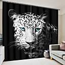 olcso 3D függönyök-kék szem leopárd digitális nyomtatás 3d függöny sötétítés függöny nagy pontosságú fekete selyem anyagból kiváló minőségű függöny