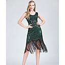 Χαμηλού Κόστους Ημέρα επιστροφής στο σπίτι-Λάτιν Χοροί Φορέματα Γυναικεία Πάρτι / Επίδοση Πολυεστέρας / Spandex Φούντα / Παγιέτες Αμάνικο Φυσικό Φόρεμα