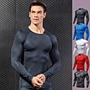 povoljno Odjeća za fitness, trčanje i jogu-Muškarci Kompresijska košulja 3D ispis Crn Obala Crvena Plava Siva Spandex Trčanje Fitness Trening u teretani T-majica Temeljni sloj Veći konfekcijski brojevi Dugih rukava Sport Odjeća za rekreaciju