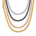 ราคาถูก สร้อยข้อมือผู้ชาย-สำหรับผู้ชาย สำหรับผู้หญิง สร้อยคอ Choker สร้อยคอโซ่ สร้อยคอ แนวตั้ง อินเทรนด์ Rock แฟชั่น ทองแดง สีดำ Rose Gold สีทอง สีเงิน 36+5/46/51/55/61/66/71/76 cm สร้อยคอ เครื่องประดับ 1pc สำหรับ