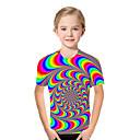 Χαμηλού Κόστους Μπλουζάκια για κορίτσια-Παιδιά Νήπιο Κοριτσίστικα Ενεργό Βασικό Γεωμετρικό Στάμπα Συνδυασμός Χρωμάτων Στάμπα Κοντομάνικο Κοντομάνικο Ουράνιο Τόξο