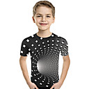 cheap Abstract Paintings-Kids Toddler Boys' Active Basic Geometric Print Color Block Print Short Sleeve Tee Black