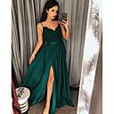baratos Vestidos de Noite-Linha A Com Alças Finas Cauda Escova Cetim Elegante Baile de Formatura Vestido 2020 com Apliques / Faixa / Fita / Fenda Frontal