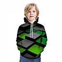 billige Historiske kostymer og vintagekosty,re-Barn Gutt Aktiv Gatemote Geometrisk 3D Lapper Trykt mønster Langermet Hettegenser og sweatshirt Grønn