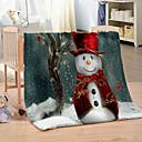 Χαμηλού Κόστους Κουβέρτες & Ριχτάρια-χειμώνας κουβέρτα Χριστούγεννα χιονάνθρωπος ψηφιακή εκτύπωση κοραλλιογενείς fleece πάχους ζεστό καναπέδες κουβέρτες