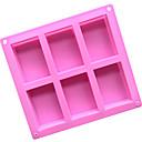 billige Bakeredskap-6 hulrom 3d håndlaget rektangel såpe sjokoladekake muggsopp, silikon 8 × 5,5 × 2,5 cm (3,1 x 2,2 x 1,0 tommer)