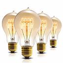 ราคาถูก หลอดไฟแบบไส้-วินเทจเอดิสันหลอดไฟ a60 (a19) หรี่แสงได้ 40 วัตต์เอดิสันหลอดไฟทังสเตนวินเทจโบราณหลอดไส้สีเหลืองอำพันแก้วสีขาวอบอุ่น e26 / e27 เอดิสันหลอดไฟสำหรับบ้านติดตั้งไฟตกแต่ง (4 แพ็ค) 220 โวลต์