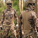 ราคาถูก เสื้อผ้าจากสัตว์-สำหรับผู้ชาย Camouflage Hunting T-shirt กลางแจ้ง กันน้ำ กันลม ระบายอากาศ แห้งเร็ว ฤดูใบไม้ผลิ ฤดูร้อน อำพราง เสื้อยึด Tops แขนยาว การล่าสัตว์ กีฬาสันทนาการ Military พรางสีน้ำตาล
