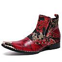 billige Herrestøvler-Herre Fashion Boots Nappa Lær Vinter / Høst vinter Vintage / Britisk Støvler Hold Varm Støvletter Rød / Fest / aften