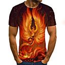 billige Wall Tapestries-T-skjorte Herre - 3D / Dyr / Tribal, Trykt mønster Gatemote / Punk & Gotisk Fantastiske dyr Oransje