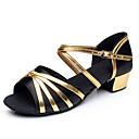 ราคาถูก รองเท้าแบบลาติน-เด็กผู้หญิง รองเท้าเต้นรำ ซาติน / PU ลาติน ปมผ้า / Splicing ส้น หนา Heel สีดำ / สีบานเย็น / สีแดงสว่าง