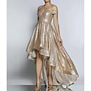 Χαμηλού Κόστους Στολές της παλιάς εποχής-Γραμμή Α Ώμοι Έξω Ασύμμετρο Πολυεστέρας Ανοικτή Πλάτη Χοροεσπερίδα / Επίσημο Βραδινό Φόρεμα 2020 με