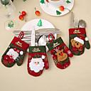 baratos Frascos e Caixas-4 pcs meias de natal conjunto de talheres faca e garfo conjunto saco de armazenamento de utensílios de cozinha