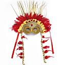 billiga Halloween- och karnevalkostymer-Fjäder Venetian Mask Masquerade Mask Halvmask Inspirerad av Cosplay Brun Halloween Halloween Karnival Maskerad Vuxna Dam