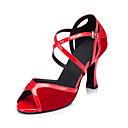ราคาถูก รองเท้าแบบลาติน-สำหรับผู้หญิง รองเท้าเต้นรำ Synthetics ลาติน หัวเข็มขัด / Splicing ส้น ส้นป้าน ตัดเฉพาะได้ สีดำ / Drak Red