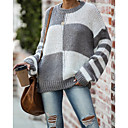cheap Bag Sets-Women's Color Block Long Sleeve Pullover Sweater Jumper, Round Neck Gray M / L / XL