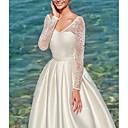 Χαμηλού Κόστους Νυφικά-Γραμμή Α Λαιμόκοψη V Ουρά Σατέν Μακρυμάνικο Φορέματα γάμου φτιαγμένα στο μέτρο με Εισαγωγή δαντέλας 2020