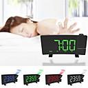 baratos Relógios de Parede-Projetor digital rádio despertador timer soneca display led tela curva larga carga usb 180 graus parede fm rádio relógio de parede
