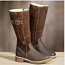 baratos Botas Femininas-Mulheres Botas Sapatos Confortáveis Salto Baixo Ponta Redonda Couro Ecológico Botas Cano Médio Inverno Preto / Marron