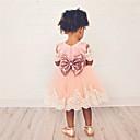 Χαμηλού Κόστους Παιδικά Αξεσουάρ Κεφαλής-Παιδιά Νήπιο Κοριτσίστικα Γλυκός χαριτωμένο στυλ Μονόχρωμο Lace Trim Κοντομάνικο Πάνω από το Γόνατο Φόρεμα Ανθισμένο Ροζ