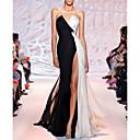 baratos Vestidos de Noite-Linha A Sem Alças Cauda Escova Poliéster Color Block Evento Formal Vestido 2020 com Fenda Frontal / Franzido