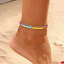 ราคาถูก เครื่องประดับร่างกาย-สำหรับผู้หญิง สีน้ำเงิน สีเหลือง สร้อยข้อมือข้อเท้า หลายเลเยอร์ โชคดี ง่าย คลาสสิก อินเทรนด์ แฟชั่น สีสัน สร้อยข้อเท้า เครื่องประดับ สีทอง / สีเงิน สำหรับ ปาร์ตี้ ทุกวัน Street เทศกาล / 2pcs