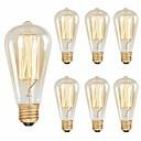 ราคาถูก หลอดไฟแบบไส้-6 แพ็ค 40 วัตต์เอดิสันหลอดไฟ st58 ไส้หลอดวินเทจสไตล์โบราณหลอดไส้ - e26 / e27 ฐาน - กระจกใส - น้ำตาหล่นโคมไฟด้านบนสำหรับโคมไฟระย้าโคมไฟติดผนัง sconces แสงจี้