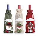ราคาถูก อุปกรณ์เสริมไวน์-1 ชิ้นอุปกรณ์เสริมคริสต์มาสไวน์ขวดซานตาคลอสมนุษย์หิมะตกแต่งอาหารค่ำ