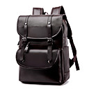 cheap Men's Bags-Large Capacity PU Zipper / Tiered Commuter Backpack School Black / Brown / Khaki