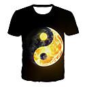 Χαμηλού Κόστους Κινούμενες φιγούρες-Ανδρικά T-shirt Βασικό / Εξωγκωμένος Συνδυασμός Χρωμάτων / 3D / Γραφική Στάμπα Μαύρο