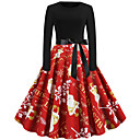 Χαμηλού Κόστους Santa Suits & Χριστούγεννα-Audrey Hepburn Φορέματα Γυναικεία Ενηλίκων Χριστούγεννα Χριστούγεννα Χριστούγεννα Πολυεστέρας Φόρεμα