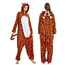 ราคาถูก ชุดนอน Kigurumi-ผู้ใหญ่ Kigurumi Pajama Tiger Onesie Pajama ผ้าสักหลาด ส้ม คอสเพลย์ สำหรับ ผู้ชายและผู้หญิง สัตว์ชุดนอน การ์ตูน Festival / Holiday เครื่องแต่งกาย / สลับ