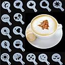 olcso Kávé és tea-16db koszorú forma díszes kávé nyomtatás modell penész vastag kávézó hab spray sablon barista sablonok dekorációs eszköz