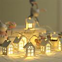billiga Baktillbehör-1 st ny led krans trä hus stränglampa 2 m 10 led rum inredning stränglampa bröllopsfest semester fairy lampor nyhet lampa