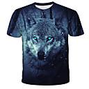 billige T-skjorter og singleter til herrer-T-skjorte Herre - 3D / Dyr / Batikkfarget, Trykt mønster Gatemote / overdrevet Ulv Svart