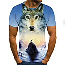cheap Hair Pieces-Men's Going out Club Street chic / Punk & Gothic T-shirt - Color Block / 3D / Animal Wolf / Fantastic Beasts, Print Light Blue