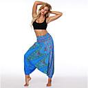 ราคาถูก ชุดออกกำลังกายและชุดโยคะ-สำหรับผู้หญิง กางเกงโยคะ ฮาเร็ม พิมพ์ 3D สีฟ้า น้ำเงินเข้ม เต้นรำ การออกกำลังกาย ยิมออกกำลังกาย ชุดกีฬาผู้หญิง กีฬา ชุดทำงาน ระบายอากาศ แห้งเร็ว นุ่ม หลวม / ฤดูหนาว