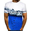 billige T-skjorter og singleter til herrer-T-skjorte Herre - 3D / Dyr Blå