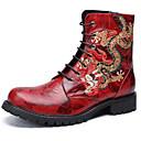 billige Herrestøvler-Herre Fashion Boots Nappa Lær Vinter / Høst vinter Vintage / Britisk Støvler Hold Varm Støvletter Svart / Vin / Fest / aften