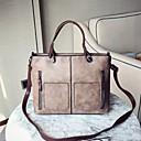 ราคาถูก กระเป๋า Totes-สำหรับผู้หญิง ซิป PU กระเป๋าถือยอดนิยม สีทึบ สีดำ / สีน้ำตาล / สีแดงชมพู