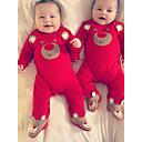 billige BabyGutterdrakter-Baby Gutt Grunnleggende Trykt mønster / Ensfarget Trykt mønster Langermet Endelt Rød