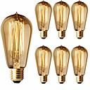 Χαμηλού Κόστους Πυράκτωσης-6-pack 40w λάμπες edison st58 νήμα vintage βολβοί λαμπτήρες πυρακτώσεως αντίκες στυλ - e26 / e27 βάση - διαφανές γυαλί - δάκρυ δάπεδα επάνω λαμπτήρα για πολυελαίους wall sconces κρεμαστό φωτισμό