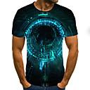 Χαμηλού Κόστους Σετ τσάντες-Ανδρικά T-shirt Κομψό στυλ street / Πανκ & Γκόθικ Γαλαξίας / Συνδυασμός Χρωμάτων / 3D Στάμπα Πράσινο του τριφυλλιού