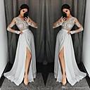 baratos Vestidos de Noite-Linha A Decote V Cauda Escova Chiffon Elegante Evento Formal Vestido 2020 com Apliques / Fenda Frontal