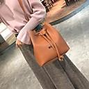 ราคาถูก กระเป๋าสะพายข้าง-สำหรับผู้หญิง หนัง Crossbody Bag สีทึบ สีดำ / สีน้ำตาล / สีแดงชมพู