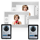billige Dørtelefonssystem med video-MOUNTAINONE SY812FA22 Med ledning Innebygd Ut-høytaler 7 tommers Håndfri To Til To Video Dørtelefon